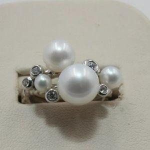 DAVID YURMAN 925 SS Pearl & Diamond Cluster Ring